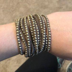 Brown w/silver studs wrap bracelet